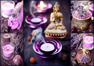 Collage. Spa, meditation, aromatherapy and lavender